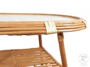 Korbtisch, Korbmöbel Tisch aus Weide mit Glasplatte (70x50x63)