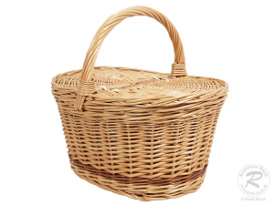 Einkaufskorb Handkorb Weide Korb mit Klappdeckel (35x26x32)