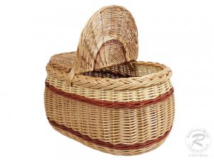 Einkaufskorb Handkorb Weide Korb mit Klappdeckel (45x30x34)