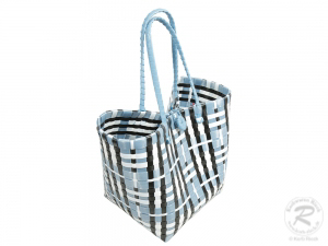 Kunststofftasche, Korb aus Kunststoffbändern, bunt (40x25x60)
