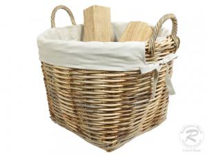 Holzkorb Korb Tragekorb aus Rohr gefüttert (D:55)