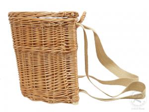 Tragekorb, Kiepe, Rucksackkorb aus gesottener Weide mit Deckel (34x27x32)