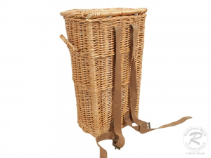 Tragekorb, Kiepe, Rucksackkorb aus gesottener Weide mit Deckel (35x30x53)
