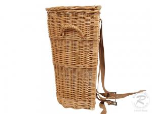 Tragekorb, Kiepe, Rucksackkorb aus gesottener Weide mit Deckel (35x30x53) - Einzelstück