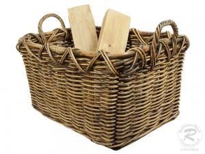 Holzkorb Korb Tragekorb aus Rohr für Kamin Holz ungefüttert (63x45x42)