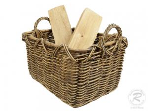 Holzkorb Korb Tragekorb aus Rohr für Kamin Holz ungefüttert (53x38x39)