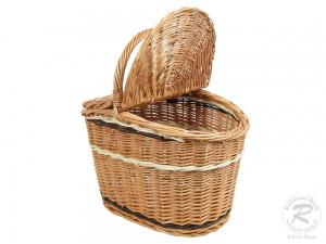 Einkaufskorb Handkorb Weide Korb mit Klappdeckel (43x28x42)