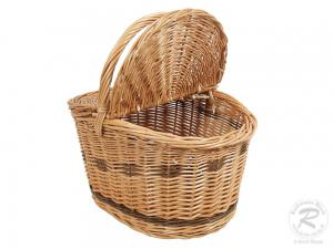 Einkaufskorb Handkorb Weide Korb mit Klappdeckel (35x28x34)