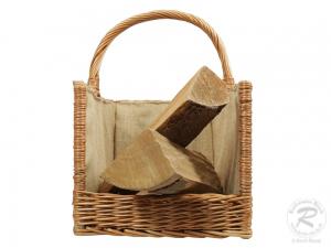 Holzkorb Kaminholzkorb Tragekorb aus Weide gefüttert (52x35x51)