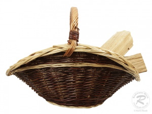 Holzkorb Kaminkorb aus ungeschälter Weide Korb gefüttert (67x55x46)