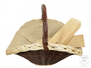Holzkorb Kaminkorb aus ungeschälter Weide Korb gefüttert (70x50x48)