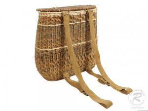 Tragekorb, Kiepe, Rucksackkorb aus Weide mit Deckel und Lederriemen