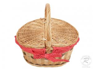 Einkaufskorb Handkorb Weide Korb mit Klappdeckel (38x28x34)