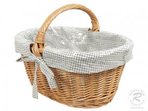 Einkaufskorb Handkorb Weide Korb gefüttert (50x37x36)