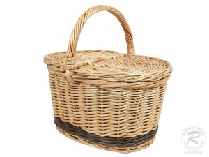 Einkaufskorb Handkorb Weide Korb mit Klappdeckel (33x27x31)