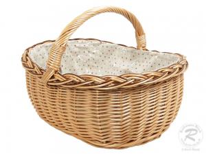 Einkaufskorb Handkorb Weide Korb gefüttert (48x41x35)