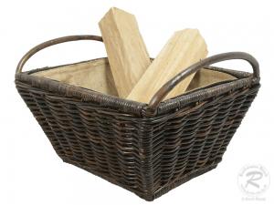 Holzkorb Korb Tragekorb aus Rohr gefüttert (53x45x35)