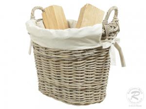 Holzkorb Korb Tragekorb aus Rohr gefüttert (48x39x45)