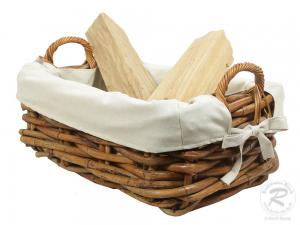 Holzkorb Korb Tragekorb aus Rohr gefüttert (65x44x31)