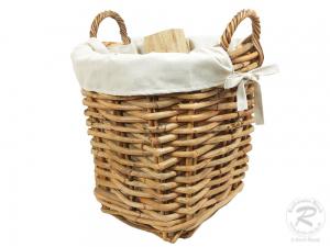 Holzkorb Korb Tragekorb aus Rohr gefüttert (D:50x58)