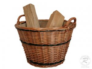 Holzkorb, Tragekorb, Korb gefüttert Größe 3 (D:55-cm)