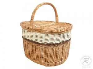 Einkaufskorb Handkorb Weide Korb mit Klappdeckel (42x30x26/42)