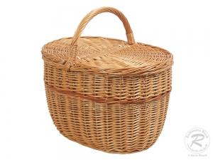 Einkaufskorb Handkorb Weide Korb mit Klappdeckel (41x29x26/40)