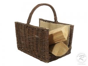 Holzkorb aus gesottener  Weide Korb gefüttert (45x31x29/49)