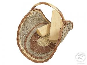Holzkorb aus ungeschälter Weide Korb (71x45x48)