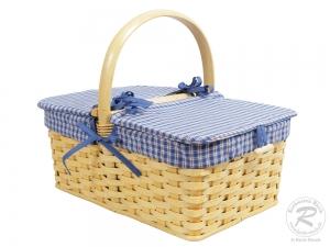 Picknickkorb, Picknickkoffer aus Weide mit Deckel (47x32x38)