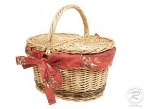 kleiner Einkaufskorb Handkorb Weide Korb mit Klappdeckel (34x26x32)