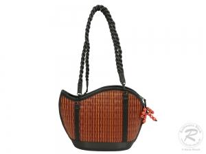 Schultertasche, amicaso Seidengrastasche, Handtasche Tasche aus Seidengras (30x12x22/48)