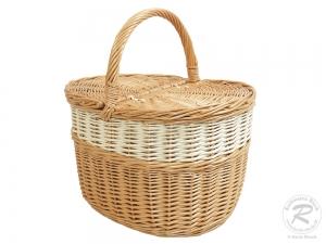 Einkaufskorb Handkorb Weide Korb mit Klappdeckel (41x28x27/42)