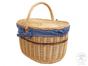 Einkaufskorb Handkorb Weide Korb mit Klappdeckel (48x33x29/47)