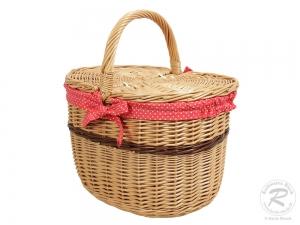 Einkaufskorb Handkorb Weide Korb mit Klappdeckel (42x29x26/41)