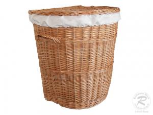 Wäschekorb gefüttert - Korb für Wäsche aus gesottener Weide (56x44x64)