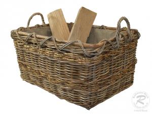 Holzkorb Korb Tragekorb aus Rohr gefüttert (68x50x43)