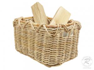 Holzkorb Korb Tragekorb aus Rohr gefüttert (47x37x29)