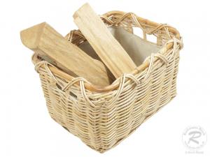 Holzkorb Korb Tragekorb aus Rohr gefüttert (45x36x29)